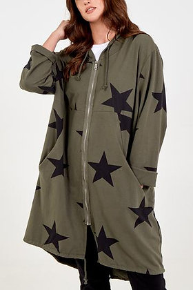 Star Zip Hooded Long Jacket