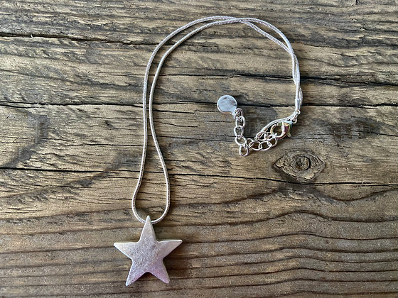 Silver Star on Short Chain Necklace