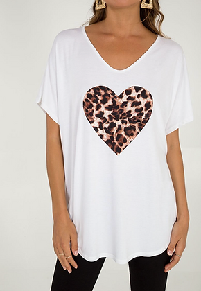 Free Size Jersey Top with Leopard Print Heart
