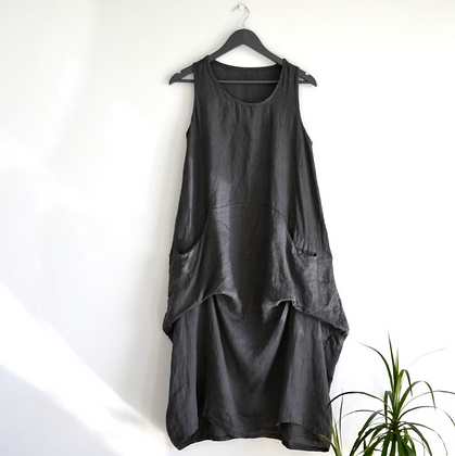 Long Linen Dress with Rouch Detail and Pockets