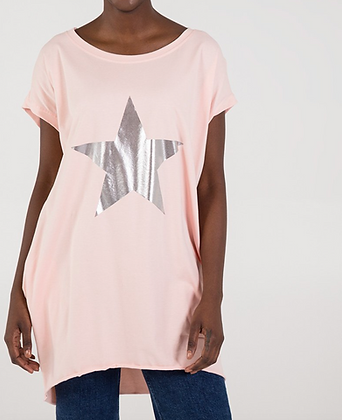 Free Size Jersey Top with Metallic Star