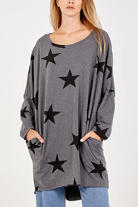 Long Sleeve Two Pocket Star Jersey Top