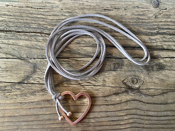 Open Heart on Long Grey Cord Necklace