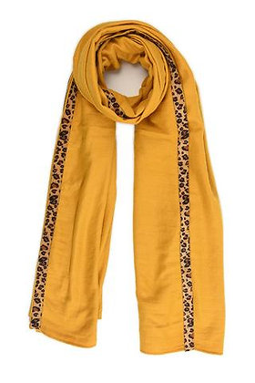 Yellow Scarf with Leopard Edge