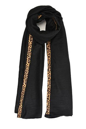 Black Scarf with leopard Edge