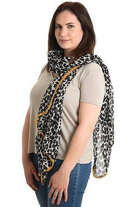 Black and White Animal Print with Yellow Pompom Scarf