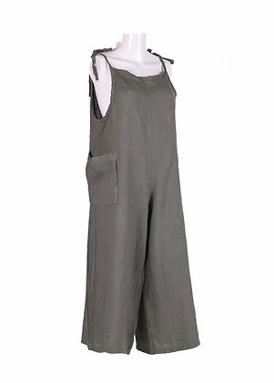 Linen Dungarees with Tie Top and Side Pockets