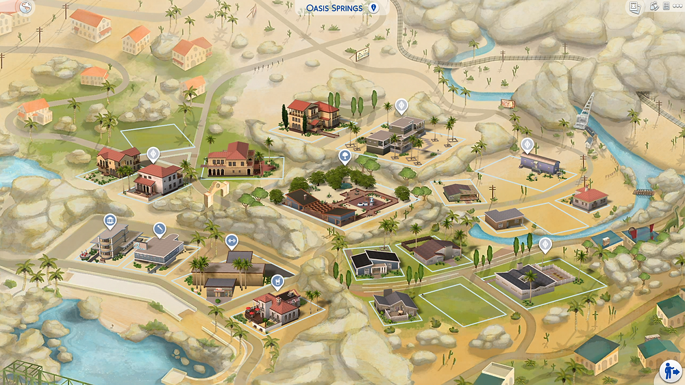 The Sims 4 Oasis Springs World Map Fanart