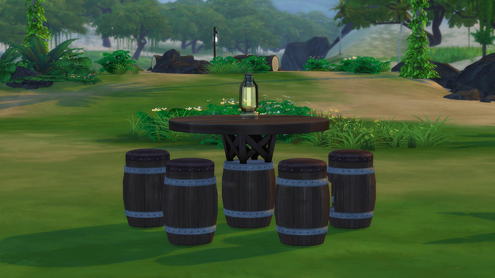The Sims 4 Custom Objects Caribbean Bar Table & Bar Stool
