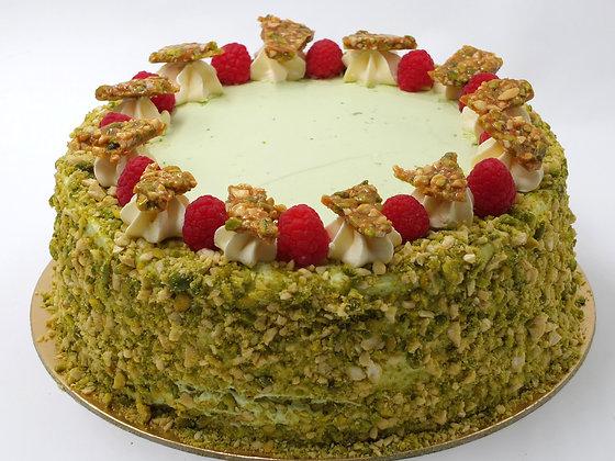 Pistáciovo – malinový dort