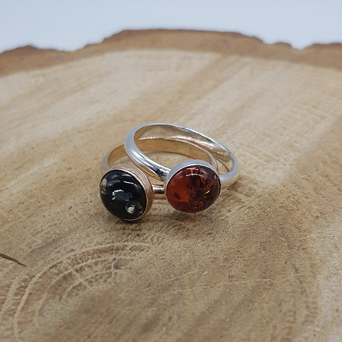 Gold Filled / Sterling Silver Green / Cognac Amber Ring
