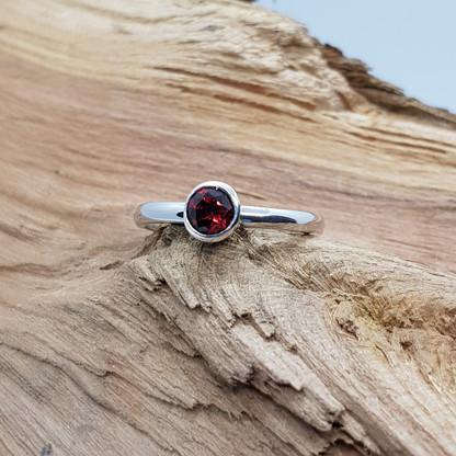 Sterling Silver Garnet Stacker Ring