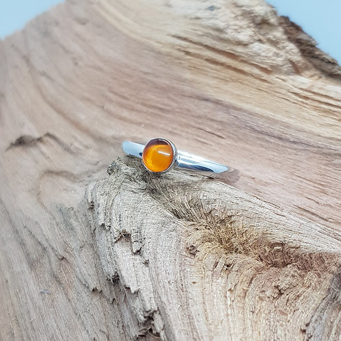 Sterling Silver Natural Amber Cabochon Ring