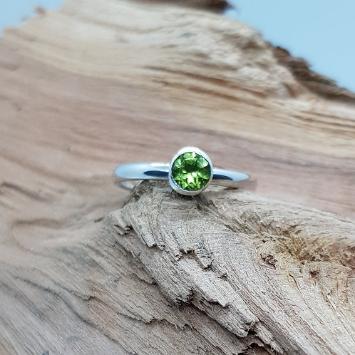 Sterling Silver Peridot Stacker Ring