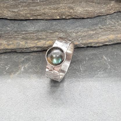 Textured Sterling Silver Labradorite Ring