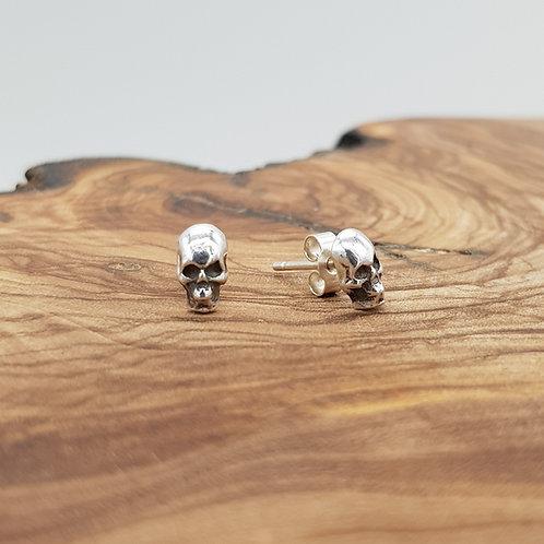 Tiny Fine Silver Skull Earrings