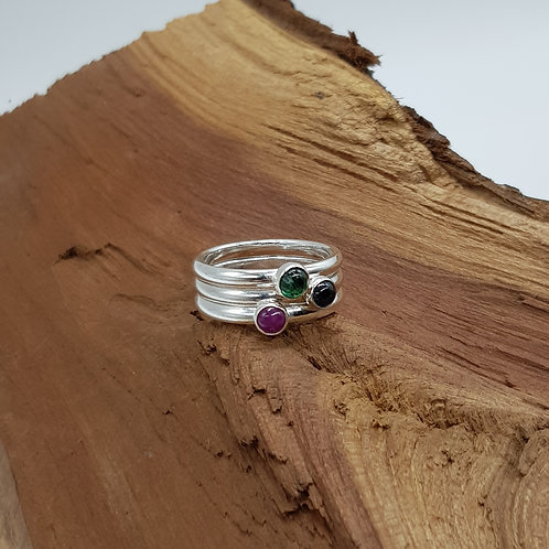 Sterling Silver Emerald/Sapphire/Ruby Ring