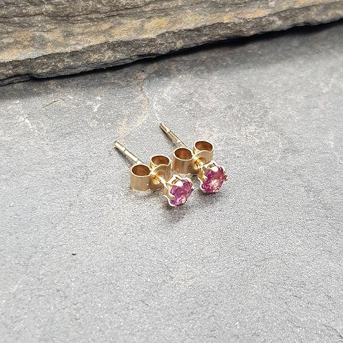 9ct Gold Deep Pink Ruby Earrings