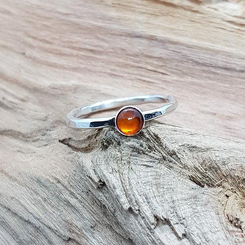 Sterling Silver Natural Amber Cabochon Ring