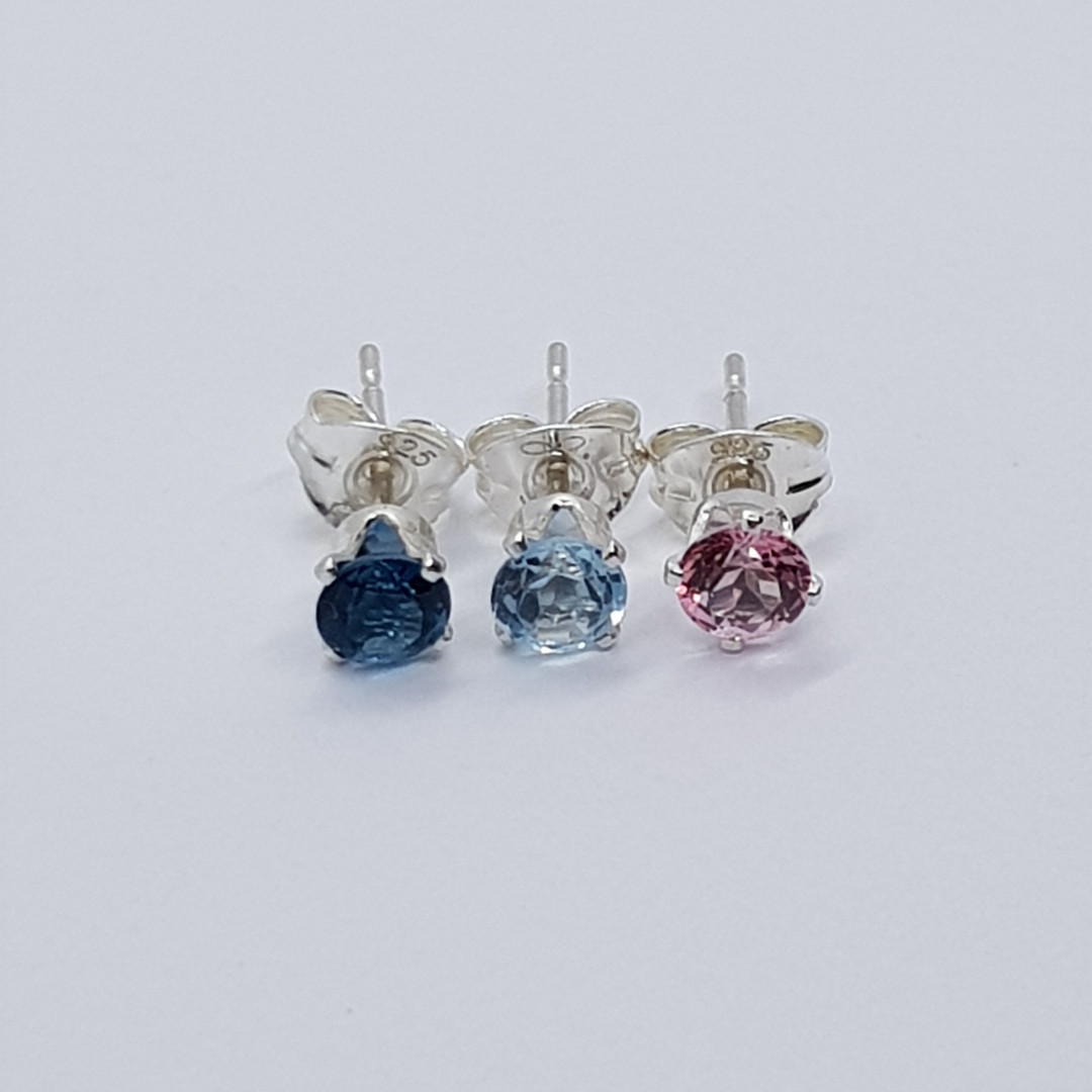 Round Faceted Sterling Silver London Blue / Sky Blue / Pink Topaz Studs