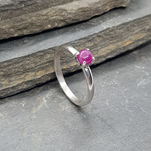 Sterling Silver Ruby Cabochon Ring
