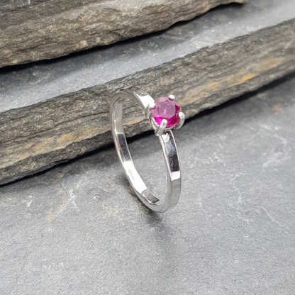 Fine Silver Deep Pink Ruby Ring