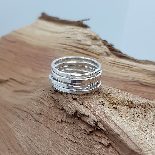 Sterling Silver Hammered Stackable Ring / Midi Ring / Stacking Ring