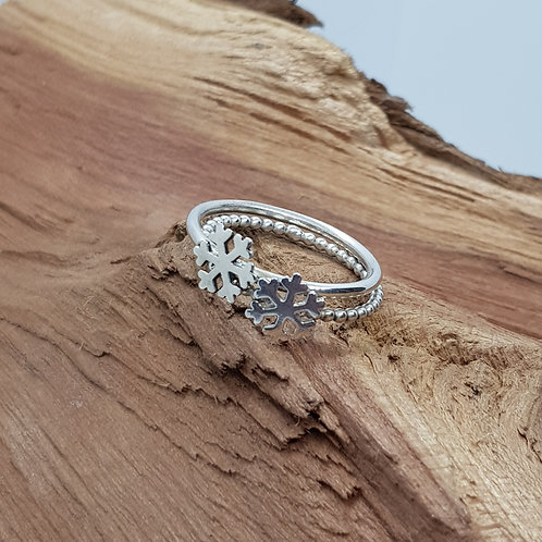 Sterling Silver Snowflake Stacking Ring
