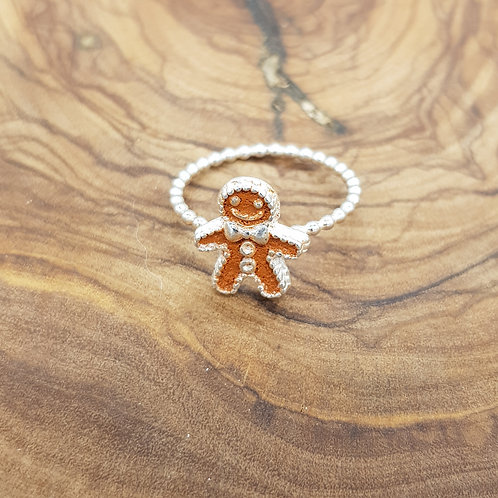 Gingerbread Person Sterling Silver Beaded Ring