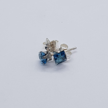 Sterling Silver London Blue Topaz Studs