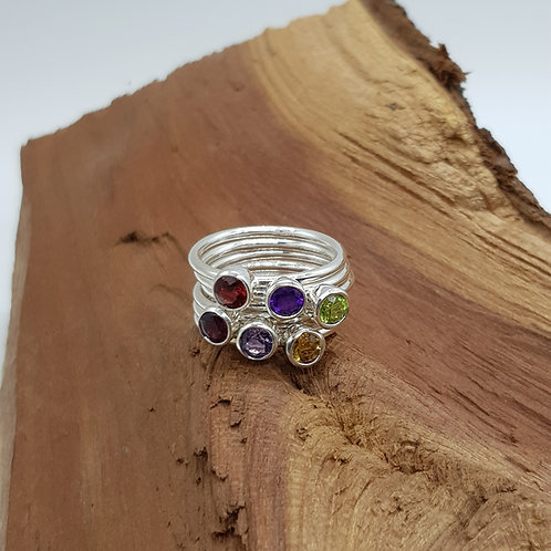 Faceted Peridot / Amethyst / Garnet / Citrine Sterling Stacker Ring