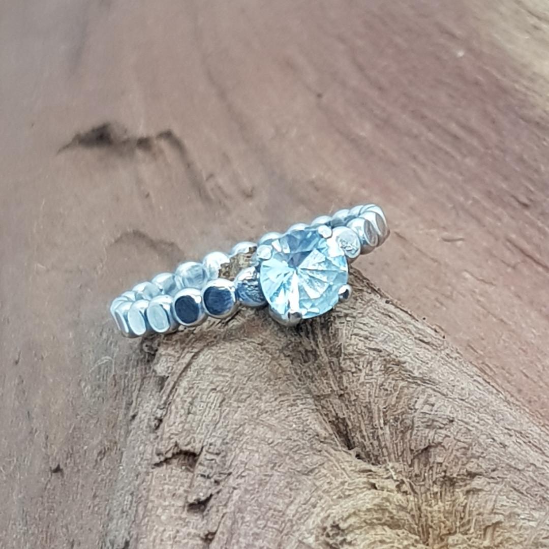 Silver Beaded Aquamarine Ring