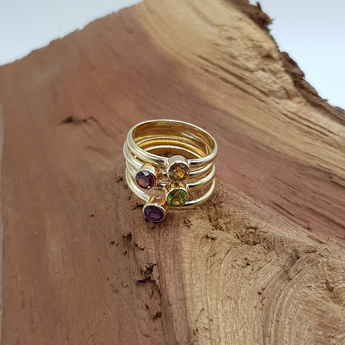 Faceted Peridot / Amethyst / Garnet / Citrine Gold Filled Stacker Ring