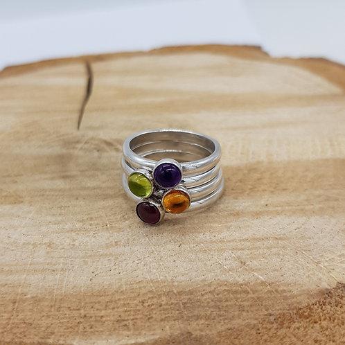 Cabochon Peridot / Amethyst / Garnet / Citrine Sterling Silver Ring