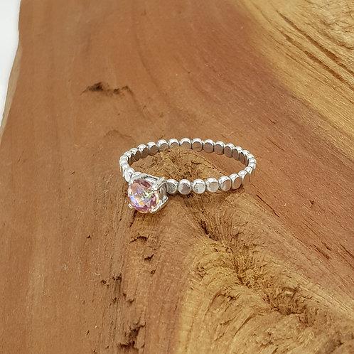 Quartz Silver Ring / Blossom Pink Kaleidoscope