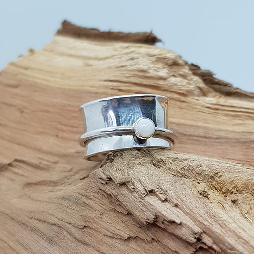Opal Sterling Silver Spinner Ring / Fidget Ring