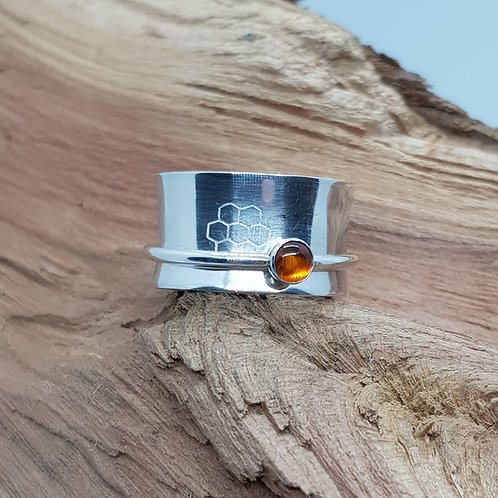 Amber Honeycomb Sterling Silver Spinner