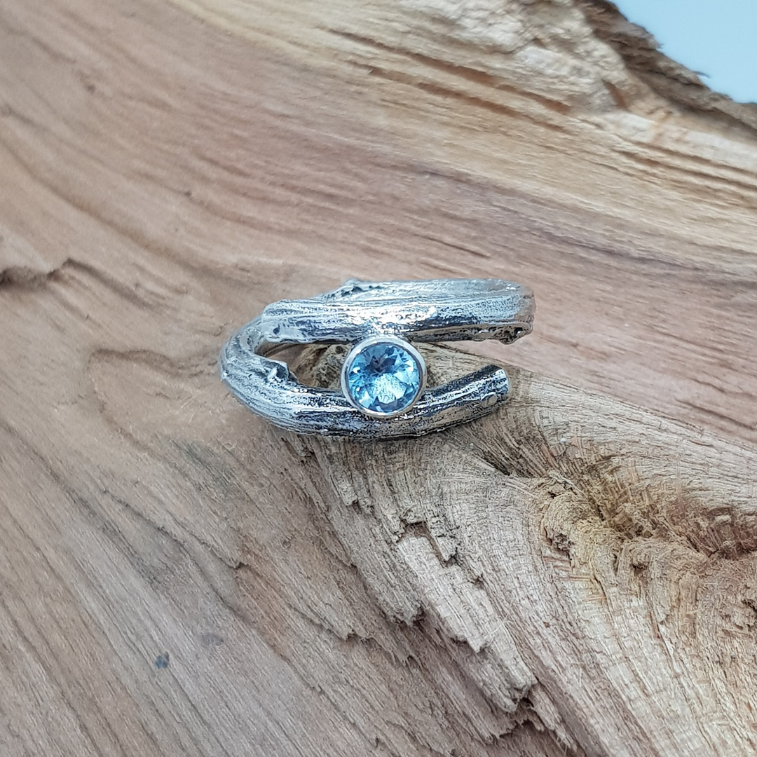 Sterling Silver Topaz Twig Ring