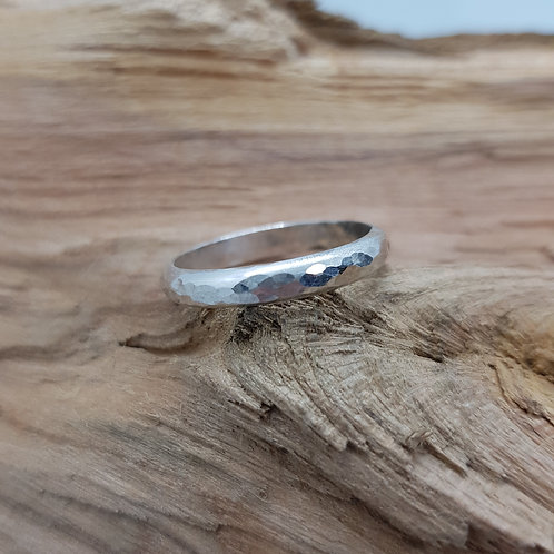 Sterling Silver Hammered D Shaped Stacker Ring / Midi Ring