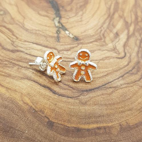 Gingerbread Person Sterling Silver Earrings