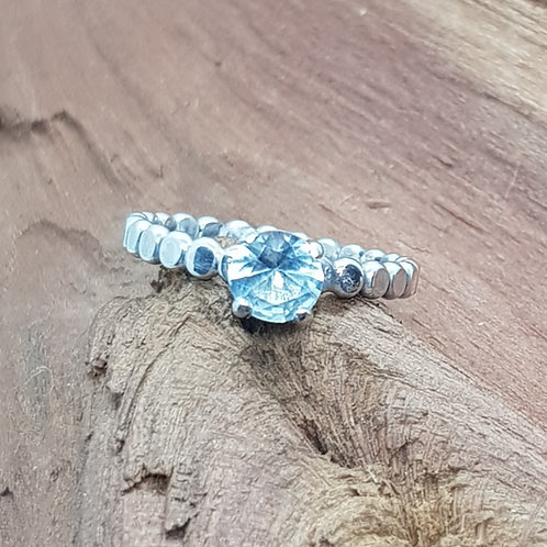 Silver Beaded Aquamarine Ring