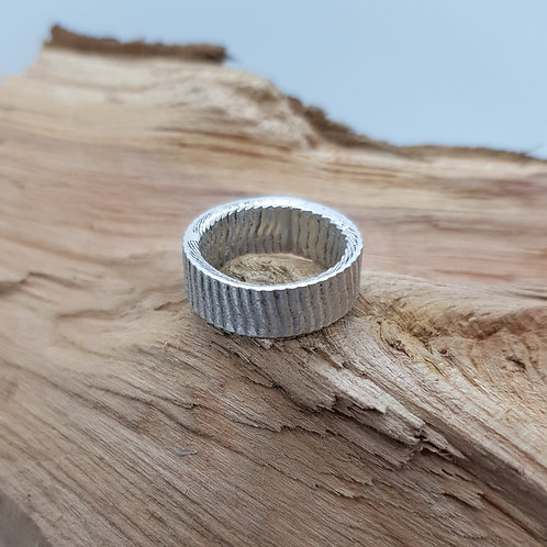 Unique Sterling Silver Rectangle Cuttlefish Ring