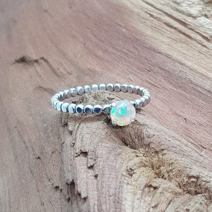 Faceted Opal Silver Ring