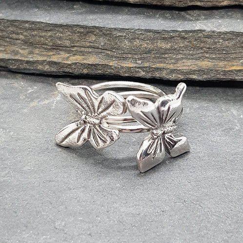 Sterling Silver Butterfly Stackable Ring / Midi Ring / Stacking Ring
