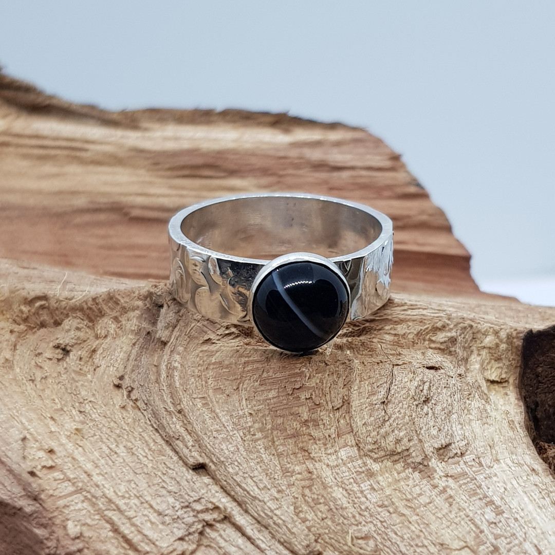Unique Patterned Sterling Silver Onyx Ring