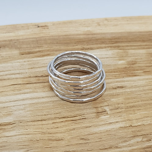 Skinny Hammered Silver Stackable Ring / Midi Ring / Stacking Ring