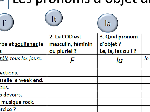 Direct Object Pronoun- Practice sheet