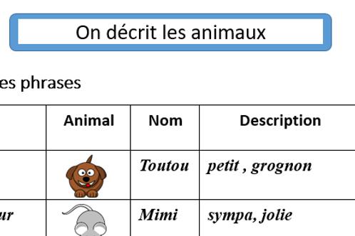 Les animaux- Descriptions