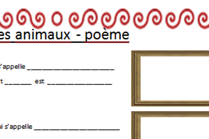 Writing frame worksheet for poem