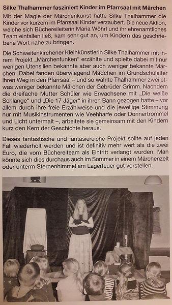 Märchenerzählerin Silke Thalhammer im Pfarrsaal in Schweitenkirchen